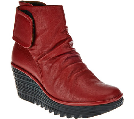 FLY London Leather Ruched Ankle Boots - Yegi