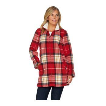 Denim & Co. Printed Fleece Stand Collar Long Sleeve Jacket