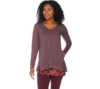 LOGO Lounge by Lori Goldstein French Terry Top and Knit Tank Twinset - A284945