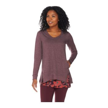 LOGO Lounge by Lori Goldstein French Terry Top and Knit Tank Twinset