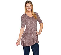 LOGO by Lori Goldstein Printed Top w/ Asymmetric Hem - A286945