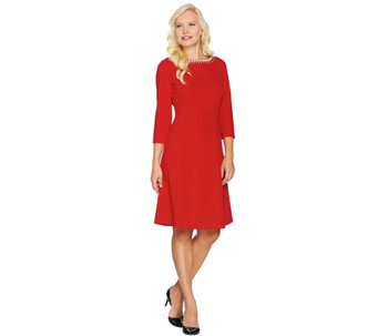 Dennis Basso Caviar Crepe Knit Dress with Embellishment - A287245