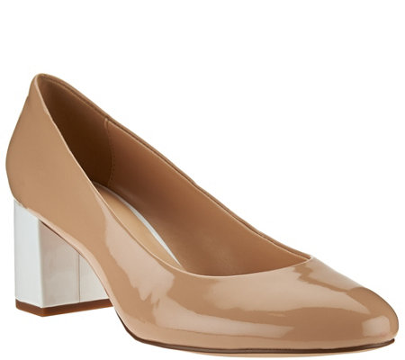 """As Is"" Isaac Mizrahi Live! Patent Leather Pumps with Contrast Heel"