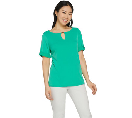 Susan Graver Liquid Knit Short Sleeve Top with Keyhole Trim