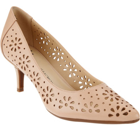 """As Is"" Isaac Mizrahi Live! Perforated Leather Pumps"