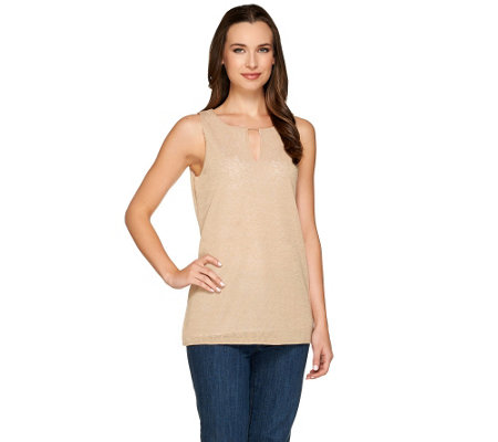 """As Is"" Kelly by Clinton Kelly Layered Tank with Beaded Detail"
