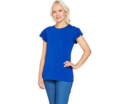 Denim & Co. Round Neck Top with Flutter Sleeve Detail - A291645