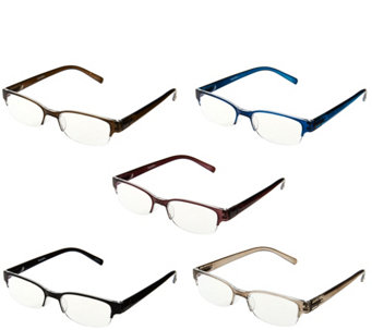 """As Is"" Tashon Rimless Readers with Anti-Glare Set of 5 Strength 3-3.5 - A292045"