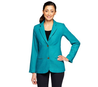 """As Is"" Isaac Mizrahi Live! Herringbone Notch Collar Blazer - A293545"