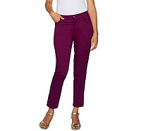 Isaac Mizrahi Live! Petite Brushed Sateen Fly Front Ankle Pants - A293945