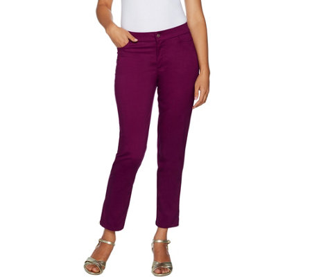 Isaac Mizrahi Live! Petite Brushed Sateen Fly Front Ankle Pants