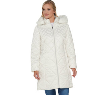 """As Is"" Isaac Mizrahi Live! Mixed Quilting Puffer Coat w/ Removable Hood - A294245"
