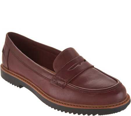Clarks Leather Slip-on Loafers - Raisie Eletta