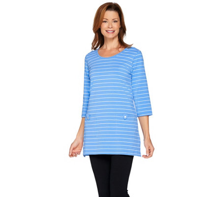 """As Is"" Denim & Co. Active 3/4 Sleeve Scoop Neck Striped Tunic Top"