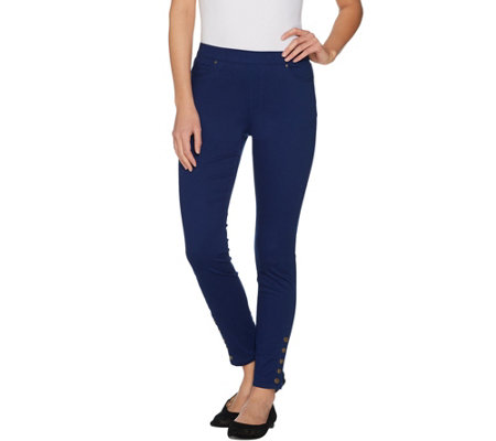 Susan Graver Stretch Sateen Pull-On Leggings with Snaps
