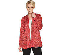 Susan Graver Space Dye Sweater Knit Cardigan with Godets - A301145