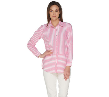 Joan Rivers Long Sleeve Striped Button Front Shirt