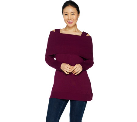 """As Is"" Isaac Mizrahi Live! Convertible Cold Shoulder Sweater Tunic"