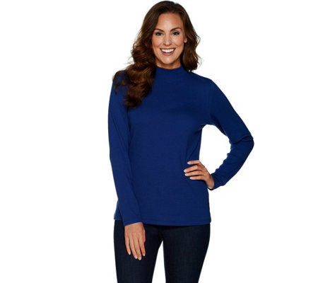 """As Is"" Denim & Co. Essentials Ribbed Long Sleeve Mock Neck Top"