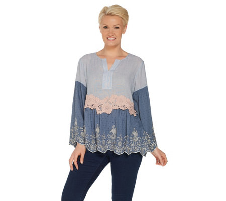 LOGO Lavish by Lori Goldstein Embroidered Woven Blouse w/ Lace Details