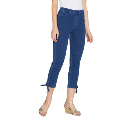 Isaac Mizrahi Live! Tall Knit Denim Crop Jeans with Tie Detail