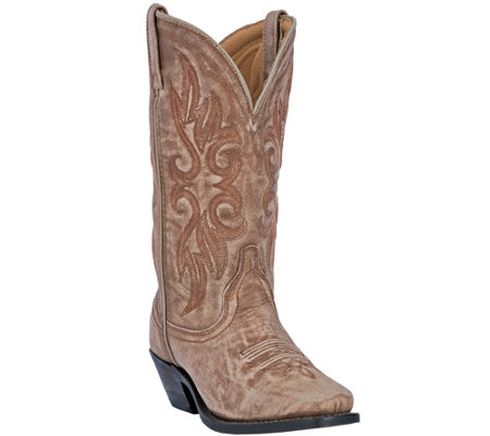 Laredo Leather Cowboy Boots with Crackle Finish- Maricopa