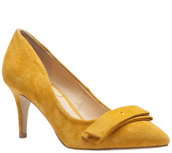 Sole Society Pointed Toe Suede Leather Pumps w/Bow - Peyton - A339445