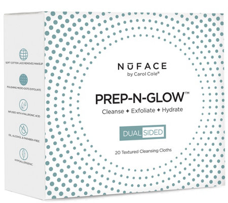 NuFACE PREP-N-GLOW Cleanse + Exfoliation Cloths, 20-Count