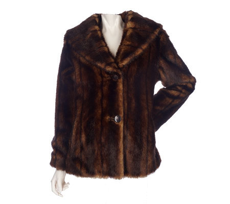 Janie Bryant MOD 2 Button Fully Lined Faux Fur Coat