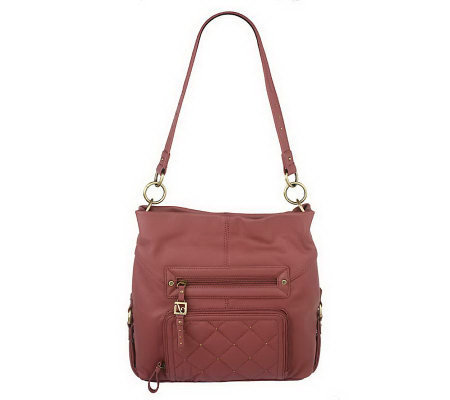 Stone Mountain Pebble Leather Hobo Bag with Front Organizer and Stud Detail