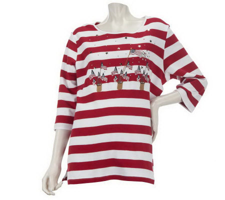 Quacker Factory What's Old is New Embroidered Flag Striped T-shirt