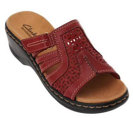 Clarks Leather Sandals with Adj. Straps - Lexi Bark