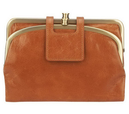 Hobo Vintage Leather Lisa Frame Clutch with Removable Strap