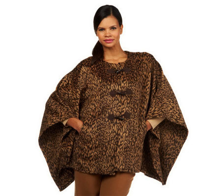 Isaac Mizrahi Live! Leopard Blanket Coat with Toggles