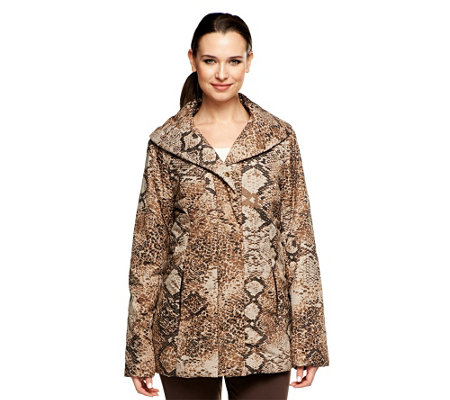 Dennis Basso Animal Print Quilted Coat with Faux Fur Lining