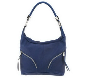 """As Is"" B. Makowsky Zip Top Leather Hobo Bag - A235446"