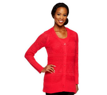 Liz Claiborne New York Pointelle Cardigan with Matching Tank - A237746