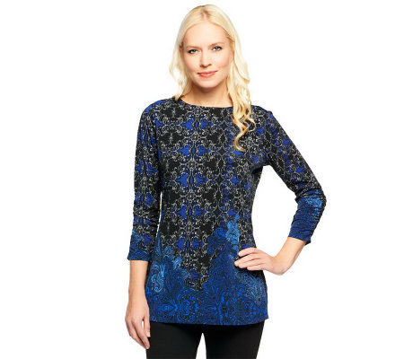 Susan Graver Liquid Knit Border Print Bateau Neck Tunic
