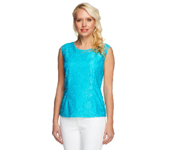 Linea by Louis Dell'Olio Lace Cap Sleeve Top w/ Lining - A252346
