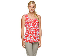 Susan Graver Printed Liquid Knit Scoop Neck Tank - A255346