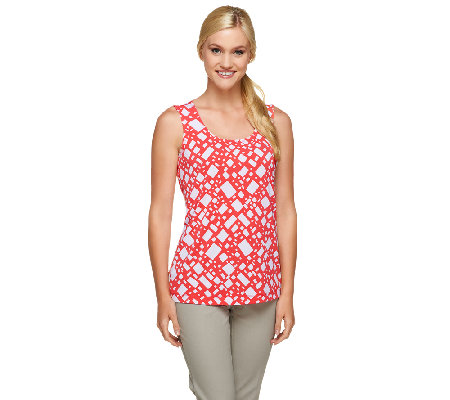 Susan Graver Printed Liquid Knit Scoop Neck Tank
