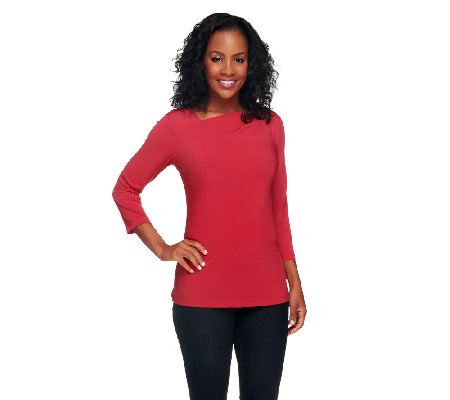 Susan Graver Liquid Knit 3/4 Sleeve Top w/ Asymmetrical Neck