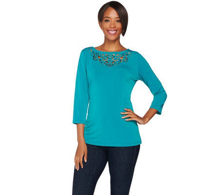 Susan Graver Liquid Knit Bateau Neck Top w/ Embellished Cutout Details