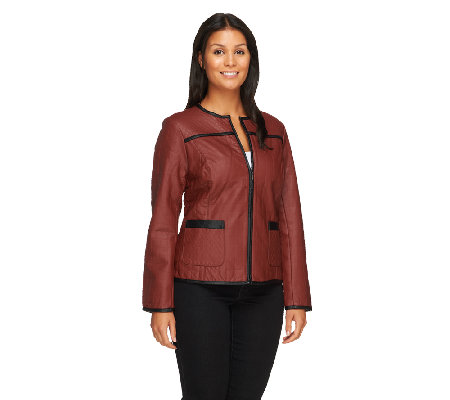 Joan Rivers Quilted Faux Leather Zip-up Jacket
