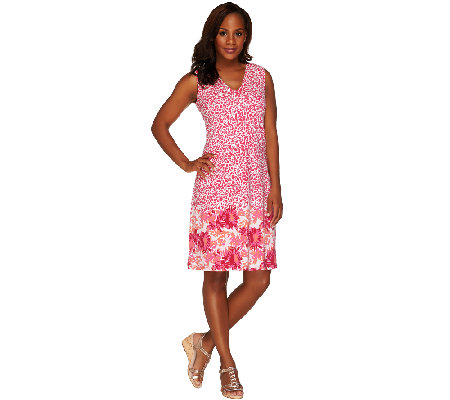 Liz Claiborne New York Border Print Sleeveless Dress