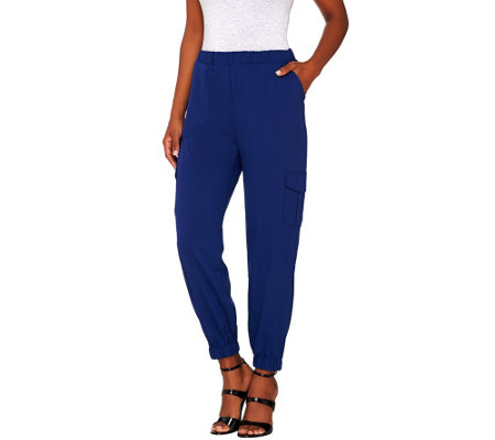 Lisa Rinna Collection Pull-On Banded Bottom Cargo Pants