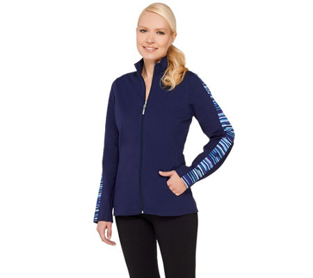 Denim & Co. Active Duo-Stretch Printed  Zip Front Jacket