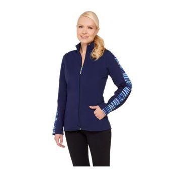 Denim & Co. Active Duo-Stretch Printed Zip Front Jacket
