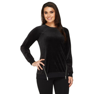 """As Is"" Denim & Co. Active Velour Sweatshirt w/ Zipper Detail - A265746"