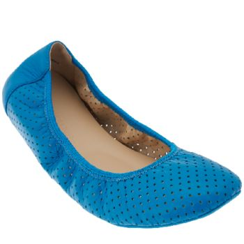 Adam Tucker Leather Perforated Ballet Flats - Napa